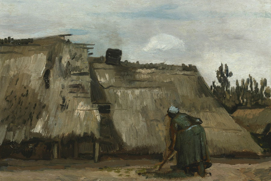 A Peasant Woman Digging in Front of Her Cottage