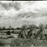 Field with corn sheaves and harvesting figures - AK and/or VvG